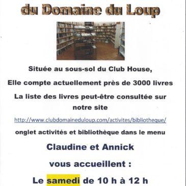 Le samedi de 10h à 12h et le mercredi de 10h30 à 12h, rendez-vous à la bibliothèque du Club qui est située au sous-sol