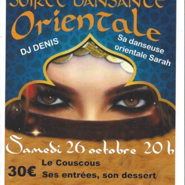 Soirée Orientale, au restaurant du Club du Domaine du Loup, samedi 26 octobre à partir de 20 h – Le couscous, ses entrées, son dessert