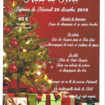 Le 25 décembre 2019 rendez-vous au restaurant du Club du Domaine du Loup pour le déjeuner de Noël