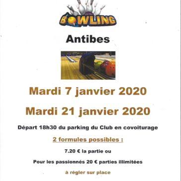 Les sorties Bowling reprennent en janvier 2 fois par mois. Les mardis 7 et 21 janvier 2020