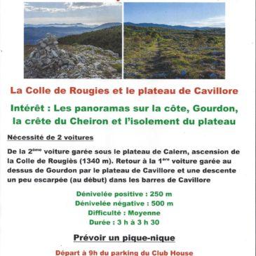 La prochaine randonnée, vendredi 17 janvier, La Colle de Rougies et le plateau de Cavillore, difficulté : moyenne