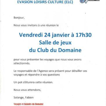 Voyages et Balades du Domaine, réunion d'information vendredi 24 janvier à 17h30