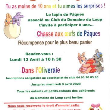 Le lundi 13 avril 2020 rendez-vous pour le ramassage des œufs de Pâques dans l'oliveraie – inscription obligatoire au secrétariat –
